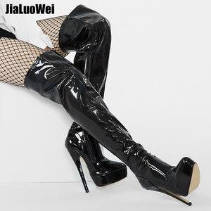 Image 3 - Jialuowei 여자 PU 가죽 섹시한 패션 무릎 부츠 섹시한 7 인치 울트라 하이힐 부츠 플랫폼 숙녀 부츠 size36 46