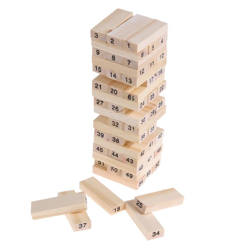 54pcs Wooden Tower Wood Building Blocks Toy Domino Stacker Extract Building Educational Jenga Game Gift with Dice башня для бросания кубиков dice tower тотем орков