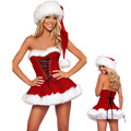 Red Sexy Christmas Costume Womens Clothes Bodyshaper Women Santa Costume