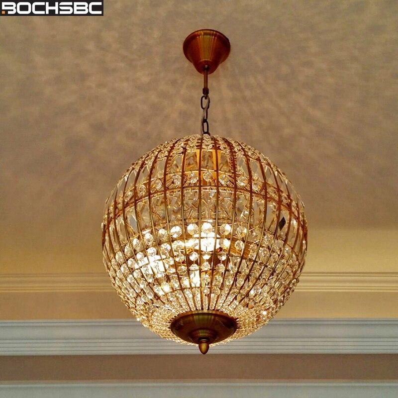 BOCHSBC Art Deco Spherical Design Crystal Chandeliers for Living Room Bedroom Dining Hanging Led Lamp Lighting Fixtures