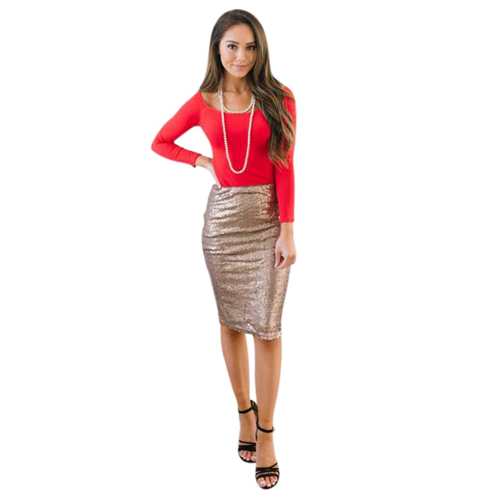 Elegant Dazzling Sequined Bodycon Skirt Women Casual Knee-Length Pencil Women Skirts Night Club Party Slim Women Short Skirts