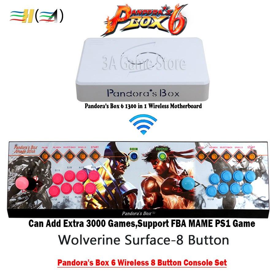 Original Pandora's Box 6 sans fil 1300 jeu d'arcade 8 bouton fer Console 2 joueurs joystick HDMI VGA à pc tv ps3 Mortal Kombat