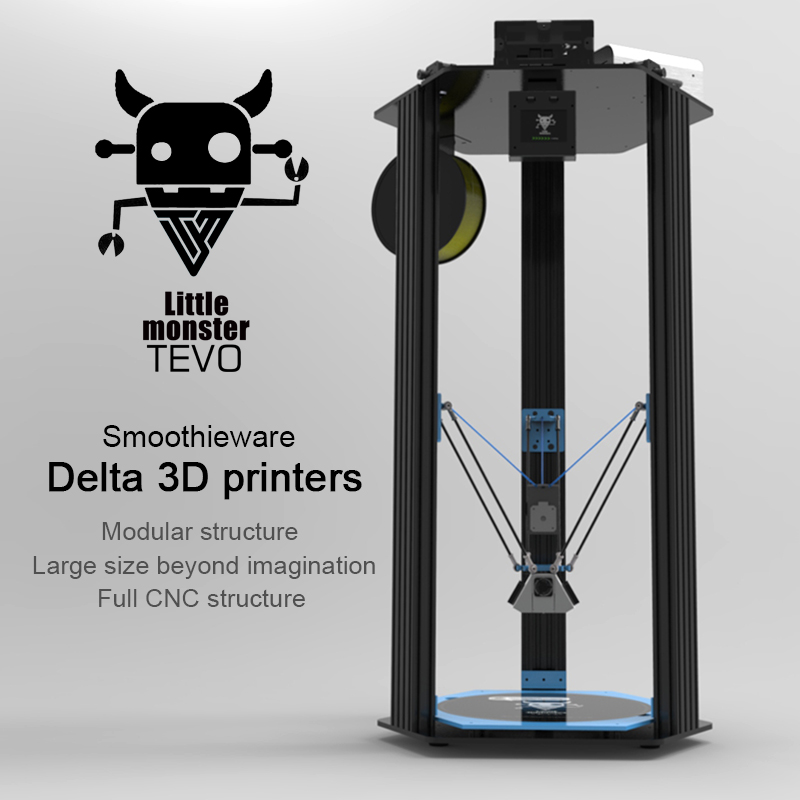 2017 Newest TEVO Delta Printing Area D340xH500mm OpenBuilds Extrusion/Smoothieware/MKS TFT28/Bltouch High Speed 3D Printer kits