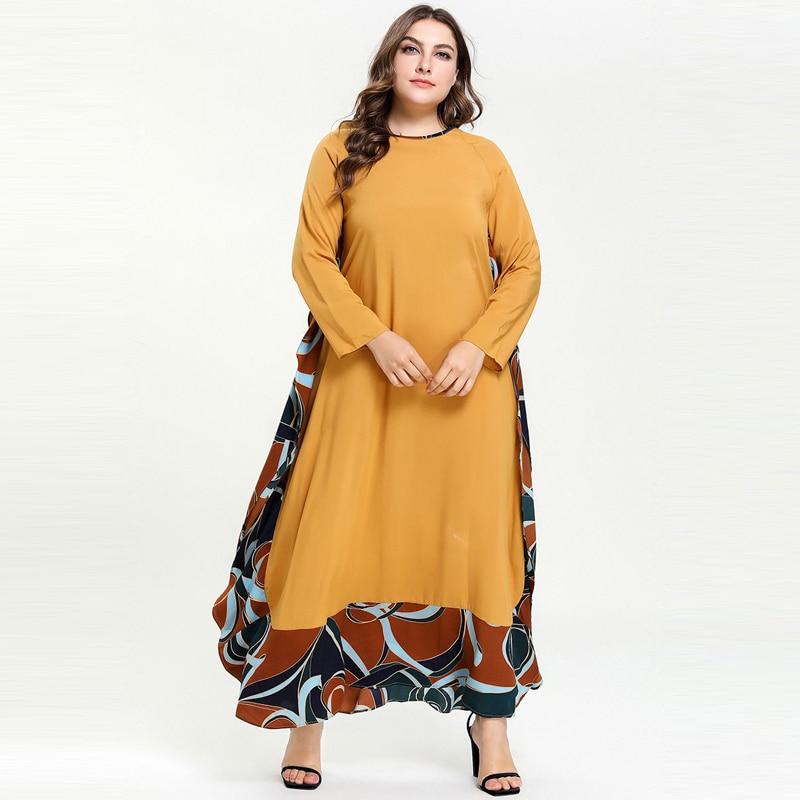 Autumn Abaya Muslim Cotton Loose Maxi Dress Arabic Abayas Pakistani Dubai Islamic Print Ruffles Patch Dresses Vestidos Big Size