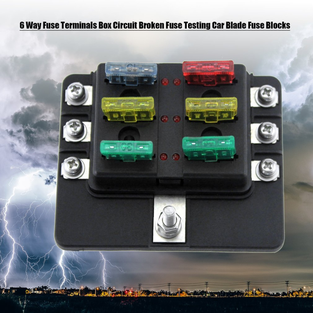 6 Way Fuse Terminals Box DC 32V Circuit Broken Fuse Testing Car Auto Blade Fuse Blocks 6 way fuse terminals box dc 32v circuit broken fuse testing car testing fuses in fuse box at couponss.co