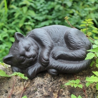 Vintage Cast Iron Sleeping Cat Statue Home Garden Tabletop Decor Animal Figure