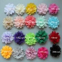 "20pcs/lot Chiffon Flowers For Headbands 2.8"" DIY Fabric Flowers kids Hair Accessories Girls Headwear"