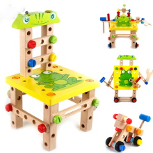 Wooden assembled Variety tool chair multifunction nut Disassembling combined toy assembly model font b puzzle b