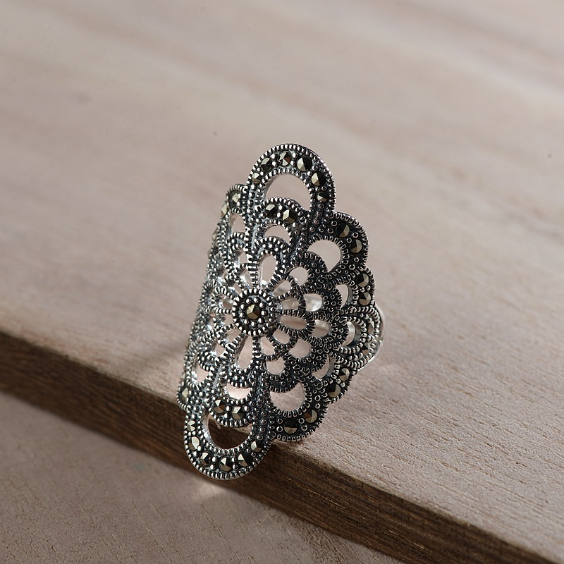 FNJ 925 Silver MARCASITE Ring Statement Flower New Fashion S925 Sterling Silver Rings for Women Jewelry
