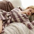 Amantes de Los Pares de los hombres y Las Mujeres Unisex de La Raya de Microfibra Suave ropa de Dormir Pijamas con Pantalones Set Twinset Ocasional Conjunto de Salón