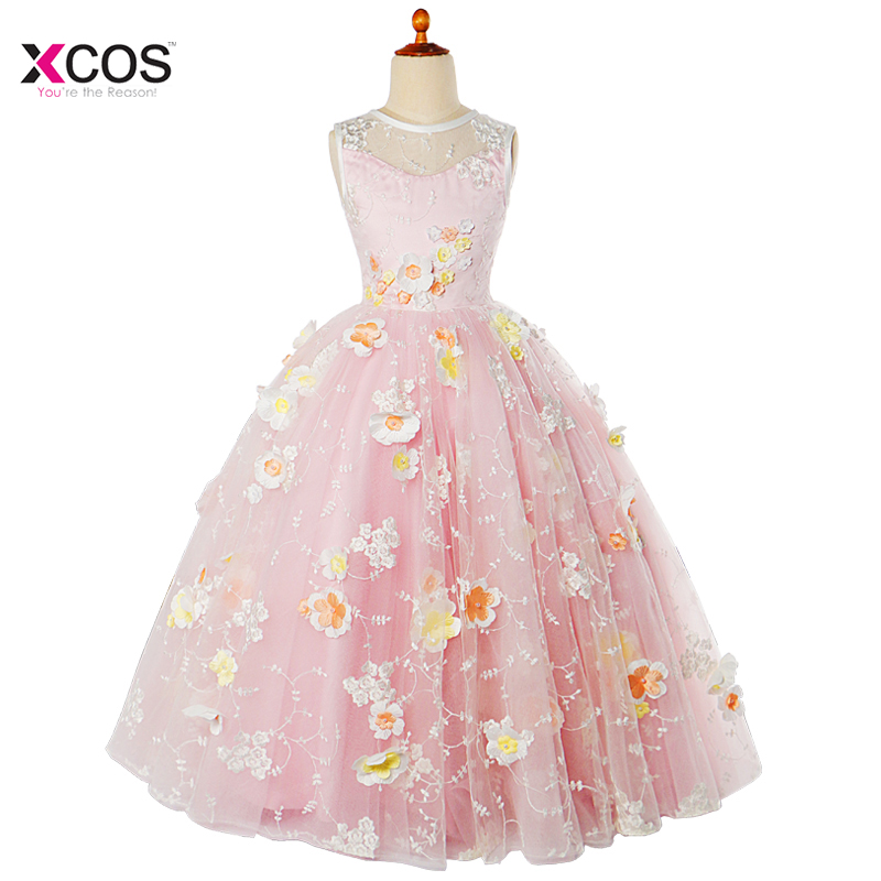 Lovely Cute New Arrival 2017 MGS Ball Gown Crepe   Flower     Girl     Dresses   For Wedding Full   Flowers   Vestido Pageant   Girl   Gown