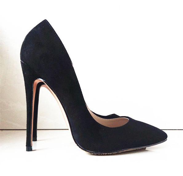 Marcas Punta estrecha Suede Albaricoque Inferior zapatos De Tacón Alto Sexy 12 cm Zapatos de Tacón Alto de Las Mujeres Bombea los zapatos de boda Bombas C-787