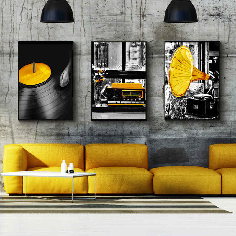 Nordic Canvas Painting Home Decor Wall Art Print Yellow Music Creative Picture Bedroom Living Room Poster Backdrop Art Painting