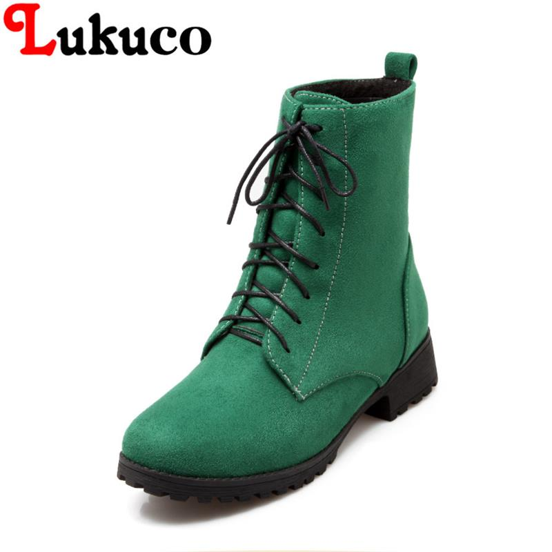 2018 NEW SALE plus size 39 40 41 42 43 44 45 46 47 48 49 Lukuco ankle boots lace-up design high quality lady shoes free shipping