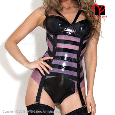 Latex Garters with bra cup Rubber suspender Belt girdle straps Tights High socks Stockings grips Waspie clip plus size DWD 004