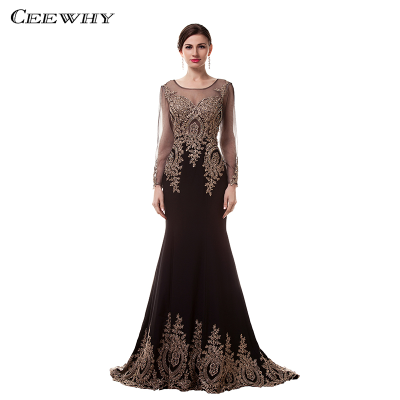 CEEWHY Muslim Evening Dresses Long Sleeve Embroidery Mermaid Evening Gowns Mother of the Bride Dress African Formal Party Gown gown
