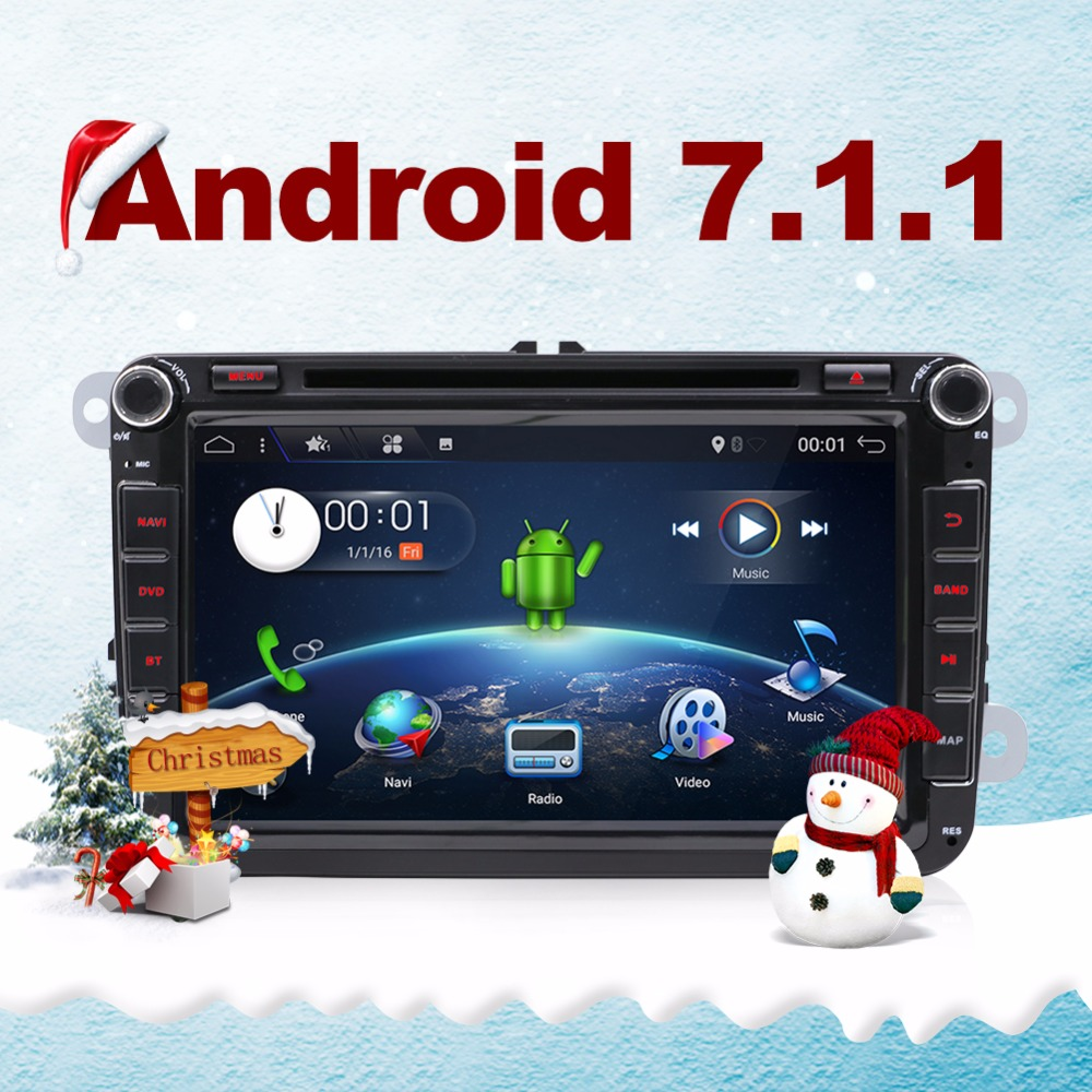 Quad core Android 7.1 double din Car DVD player pc For Volkswagen GOLF V PASSAT TSI GPS  wifi 3G radio