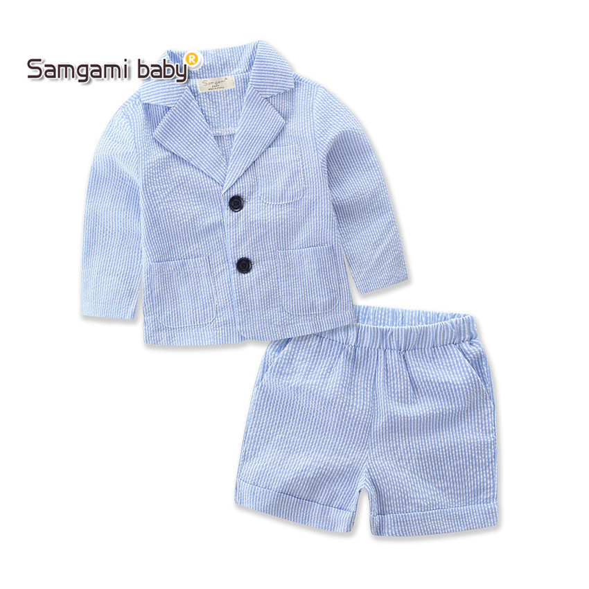 SAMGAMI New Fashion Girls and Boys Clothes Children Clothing set striped coat+pants Handsome ultra-thin small suit Baby Clothing handsome fashion boys suits embroidery children s business suit stand collar performance clothing flower boys gown