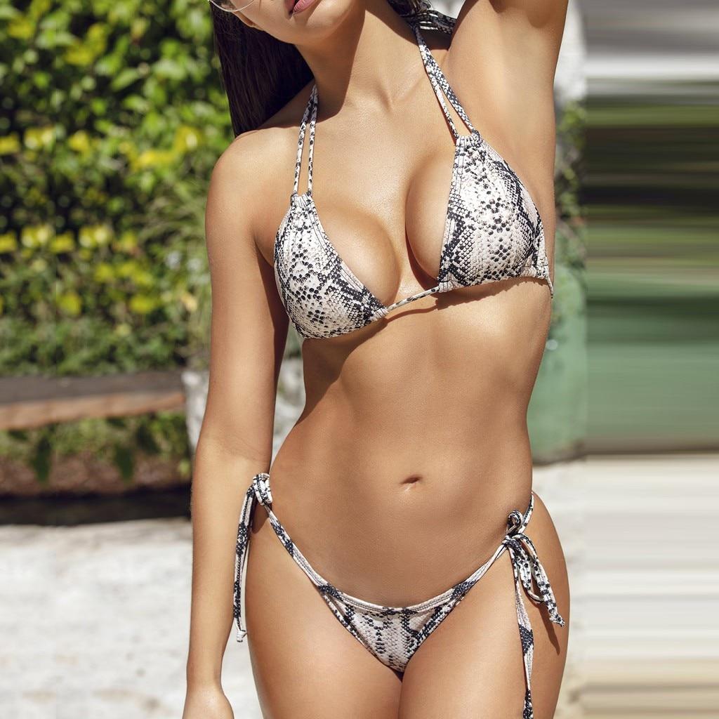 2 piece Micro Thong Bikini 2019 Sexy Snake Print Swimwear Women Brazilian Bikini Bathing Bandage Pushup Monokini Bikini Sets-2