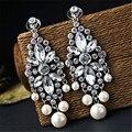Vintage plateado ] cristal de Bohemia flores pendientes de la gota joyería moda de lujo pendientes de perlas para para venta al por mayor
