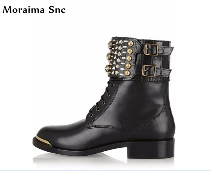 Moraima Snc hot selling Gladiator Boots concise type round toe ankle crystal Buckle Decoration designer fashion women
