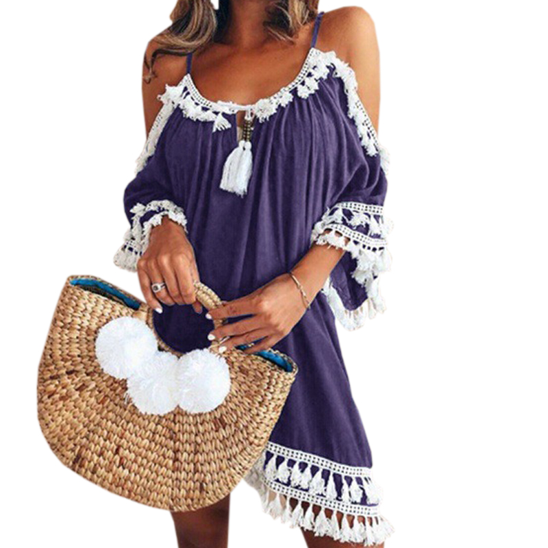 Female Spaghetti Strap Boho Dress Plus Size 5XL Summer Loose Beach Sundress Backless Short Sleeve Tassel Women Dresses GV130 1
