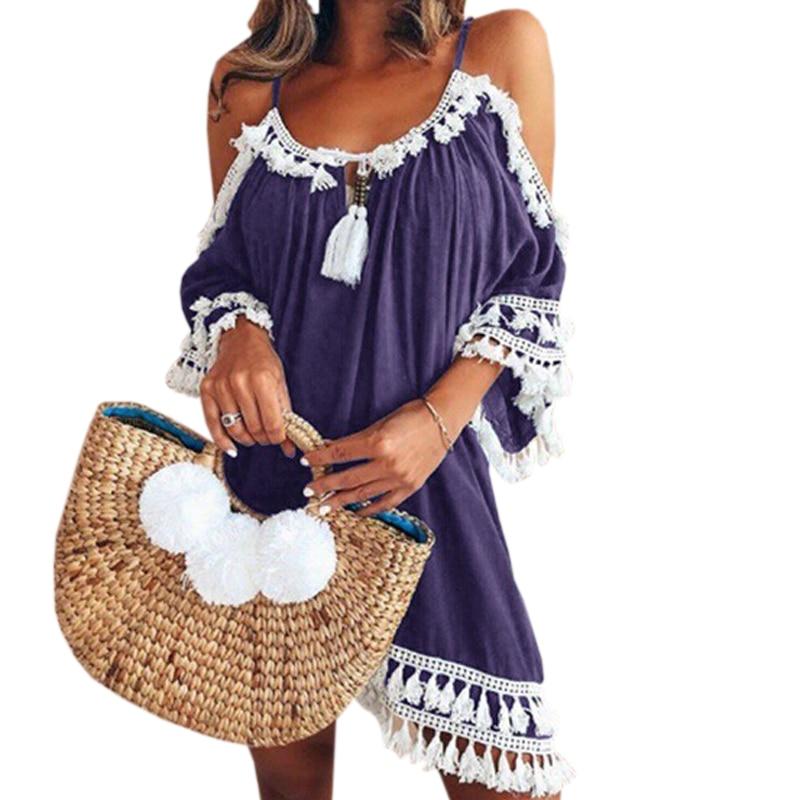 Female Spaghetti Strap Boho Dress Plus Size 5XL Summer Loose Beach Sundress Backless Short Sleeve Tassel Women Dresses GV130 1