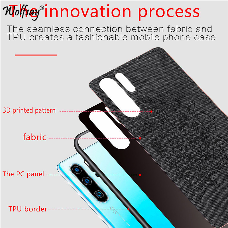 Huawei P30 Pro Shockproof Soft TPU Silicone Hard Back PC Cloth Texture Phone Case For Huawei P30 Pro Cover Huawei P30 Pro Fundas in Fitted Cases from Cellphones Telecommunications