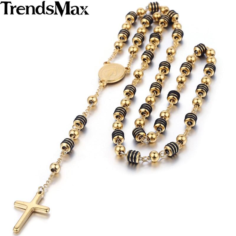 Prix pour Trendsmax Acier Inoxydable Perle Chaîne Jésus-Christ Pendentif Croix Chapelet Collier Des Femmes Des Hommes Unisexe Bijoux KN434-KN441