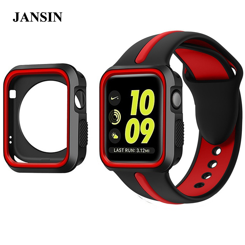 JANSIN Colorful Silicone Sports Strap with Protective Case for apple watch band 38mm 42mm Bracelet sport Strap for iwatch 1 2 3 jansin 22mm watchband for garmin fenix 5 easy fit silicone replacement band sports silicone wristband for forerunner 935 gps