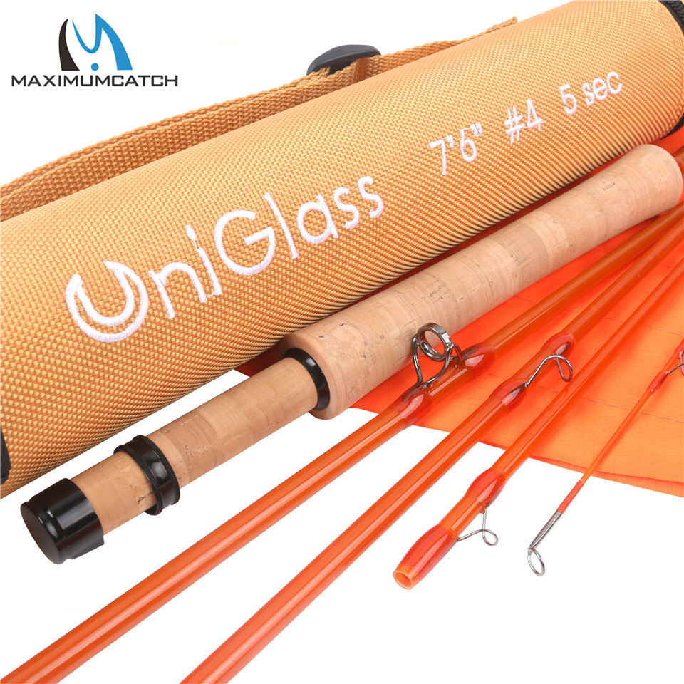 Maximumcatch High Quality 7ft/7.6ft 3wt/4wt 3-5sections Transparent Fiberglass Fly Rod With Cordura Tube Fly Fishing Rod