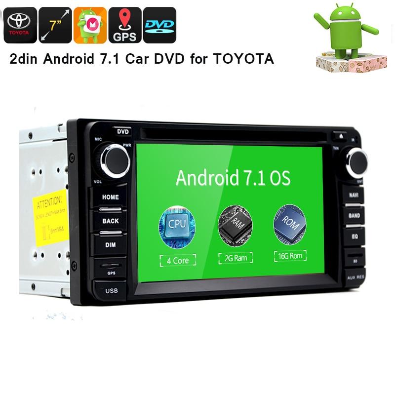 Anroid 7.1 car multimedia player GPS navigation 2din car DVD player head unit for TOYOTA Corolla Camry Rav4 Previa HILUX Prado