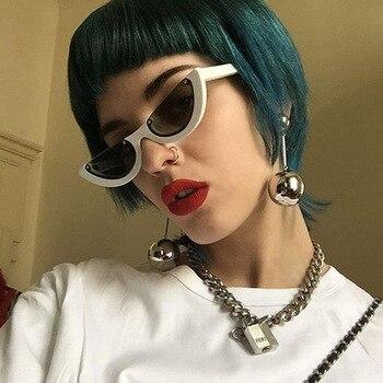 Cool Trendy Half Frame Rimless Cat Eye Sunglasses Women Fashion Clear Brand Designer Sun glasses For Female Oculos de sol