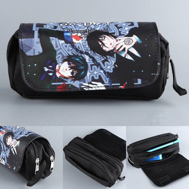 f7b748c3064 Black Butler Sebastian Women Cartoon Cosmetic Cases Makeup Bag Children  Pencil Case Double Zipper Anime Bag Handbag Purse-in Cosmetic Bags & Cases  from ...