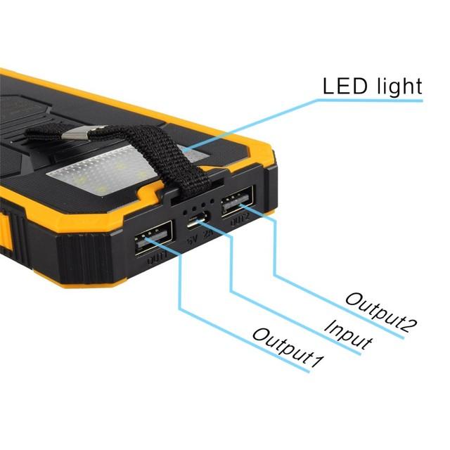 10000 mah Carregador Solar Portátil Power Bank bateria Externa à prova d' água LEVOU ao ar livre iluminação de Carregamento PowerBank para celular