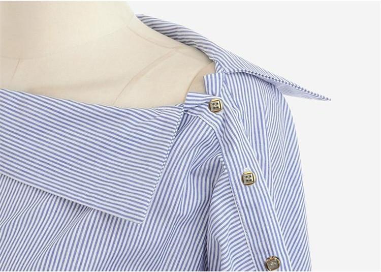 Frauen Gestreifte Blusen Sexy Langarmshirts Schulterfrei Top Bluse - Damenbekleidung - Foto 2