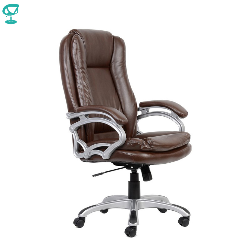 95170 Brown Office Chair Barneo K-146 Eco-leather High Back Chrome Armrests With Leather Straps Free Shipping In Russia
