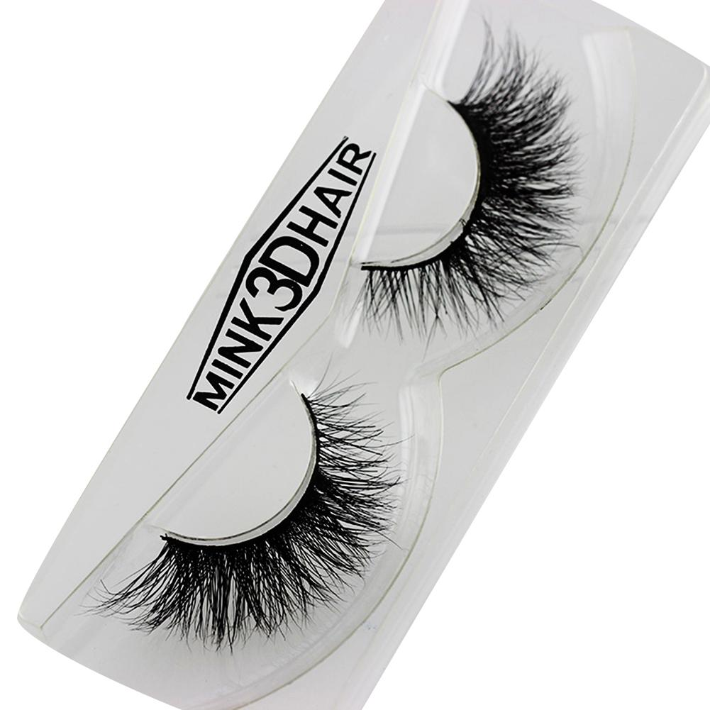 1 Pair Mink Eyelashes Natural Long 3d Mink Lashes Hand Made False Lashes Plastic Cotton Stalk Makeup False Eyelash
