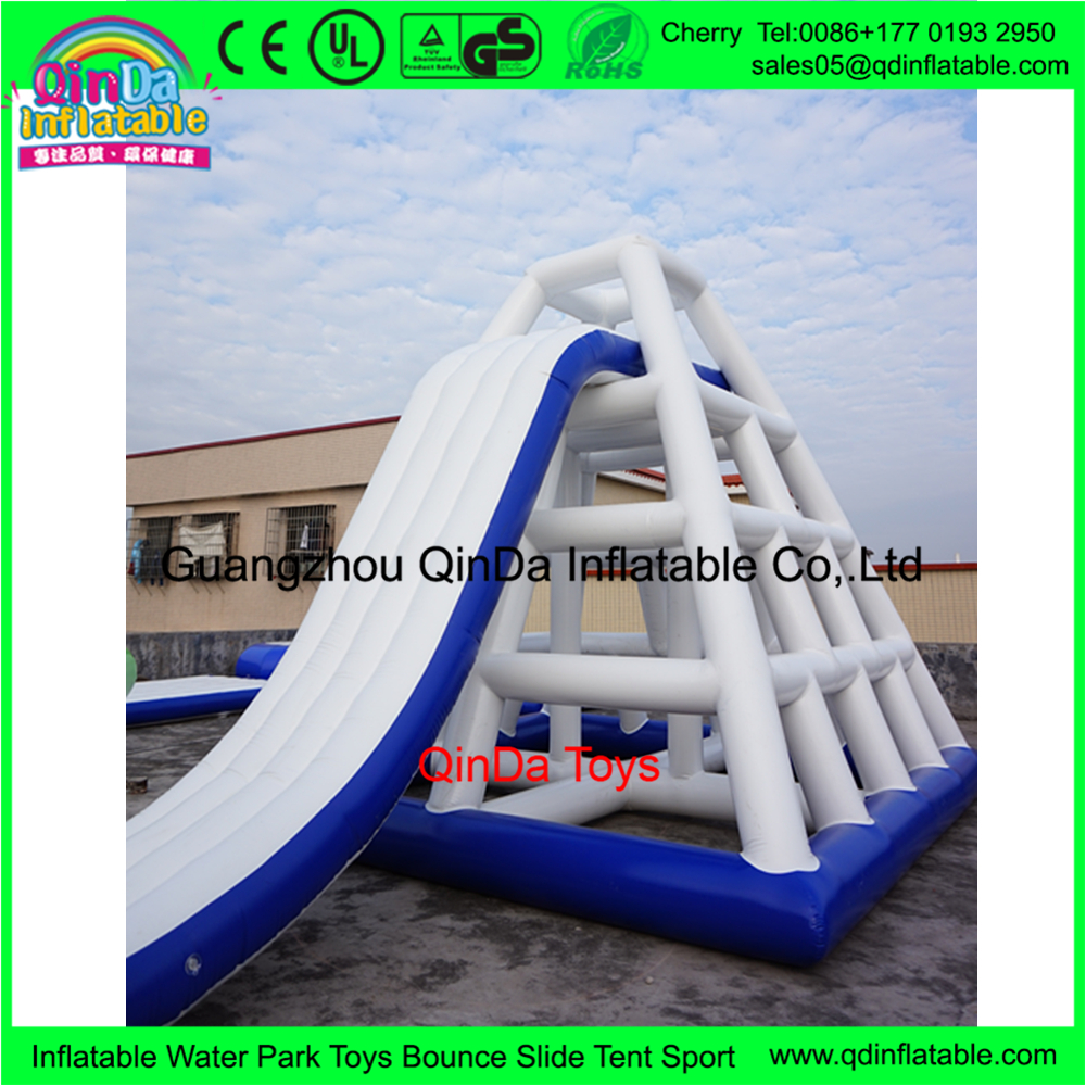 Inflatable Aqua park combo water slides, floating climbing slide for adult