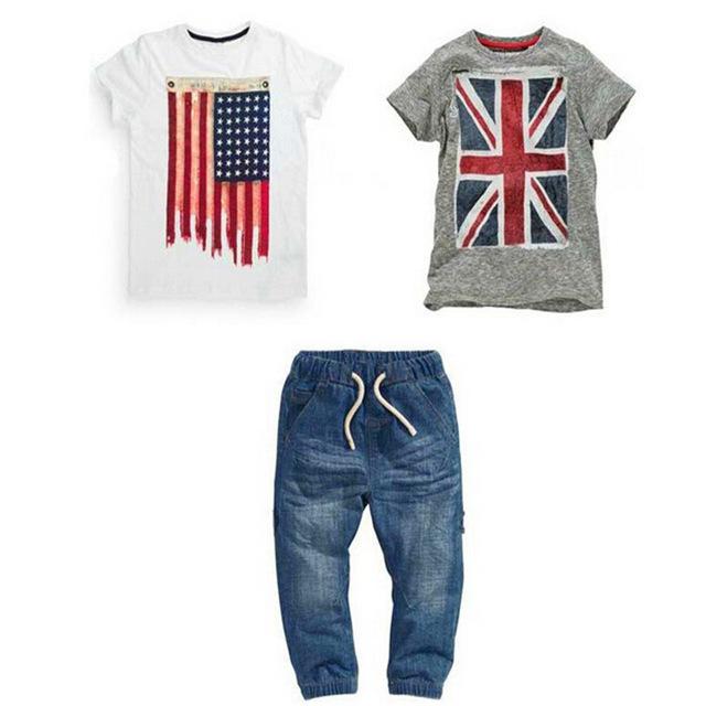 Muchachos de los cabritos del verano fijaron Con la bandera Británica y Americana 2 Camisetas + 1 vaqueros 3 Unids ropa traje, bebé mmclothes