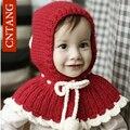 2016 Fashion Girls Shawl Hats Winter Wool Caps For Children's Cute Girl Crochet Beanie Hat Baby Knitted Warm Boys Kids Scarf Cap