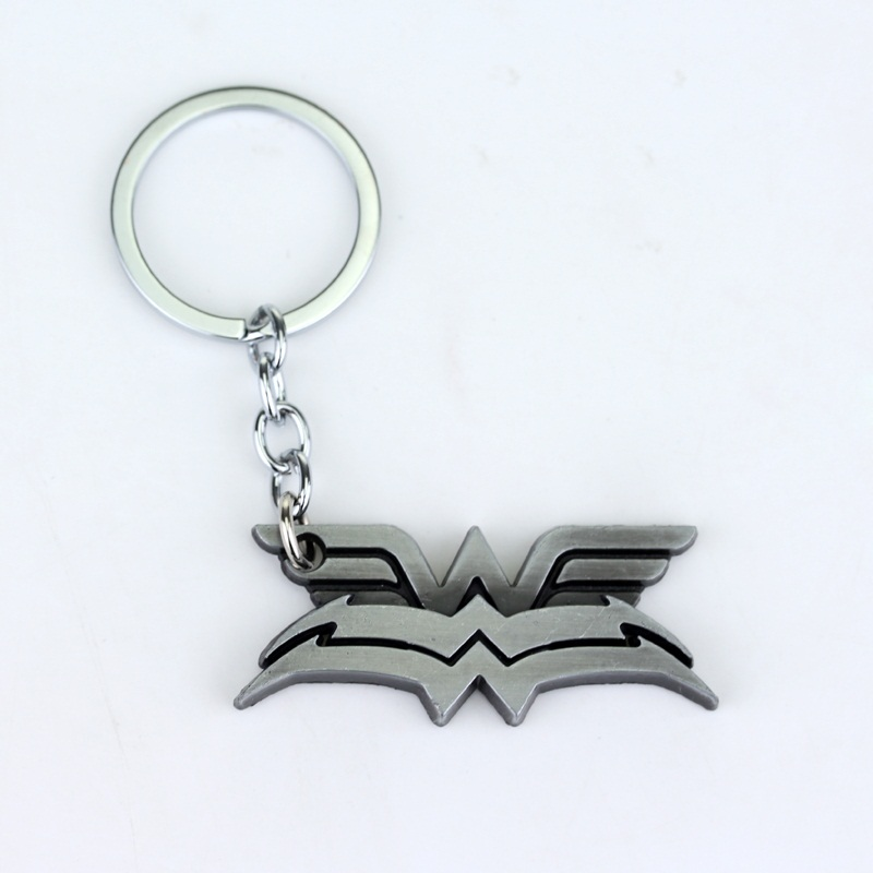 DC Comics Wonder Women Keychain The bat double Logo Black and yellow 8cm Metal pendant keyring key chain ring 12pc/lot