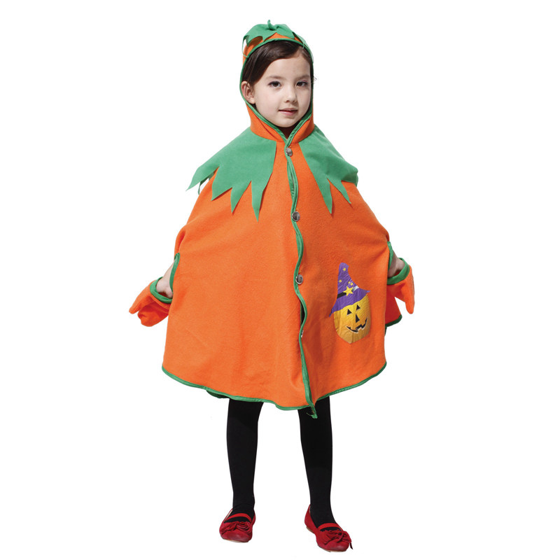 Umorden Halloween Costumes Child Kids Pumpkin Costume Cosplay Lovely Pumpkin Hooded Cape for Girls Fancy Dress Outfit