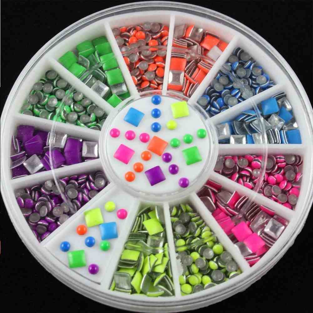 Color wheel online free - 2016 Hot New 600pcs Wheel 2mm 6 Color Round Square Metal Studs Rivet Neon Nail