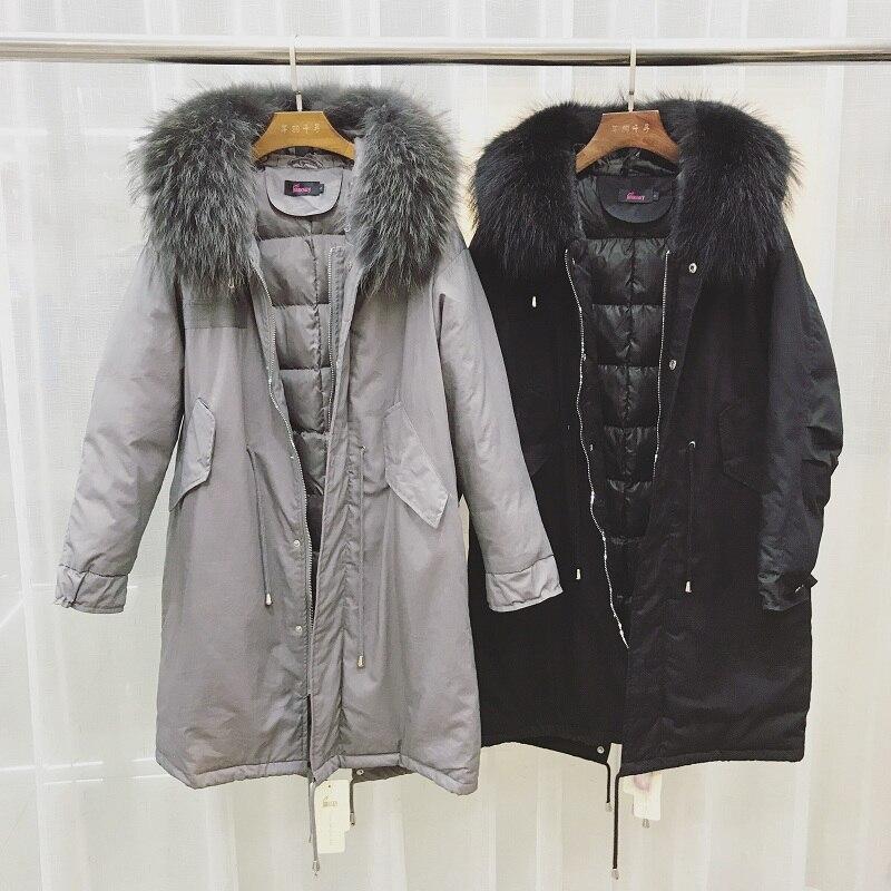 Femmes Raton Grand Naturel Fourrure Nouveau Canard Veste Duvet gris La Taille Long Plus Manteau Blanc 2018 Parka Laveur D'hiver Noir De Réel Femelle Chaud dsthCQr