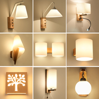 KIMYUL Modern Led Wood Wall Lamp Iron Metal Wall Light Fixtures Living Bedroom Home Lighting Lamps De Pared Vintage