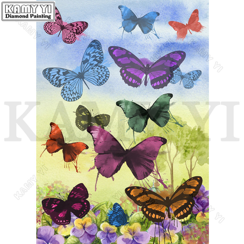 Full Drill Square/Round Diamond 5D DIY Diamond Painting Embroidery Cross Stitch Butterflies Rhinestone Mosaic Painting Decor