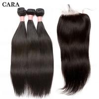 Straight Hair Bundles With Closure 3pcs Peruvian Virgin Hair Bundles Add 4x4 Lace Closure Pre Plucked With Baby Hair CARA