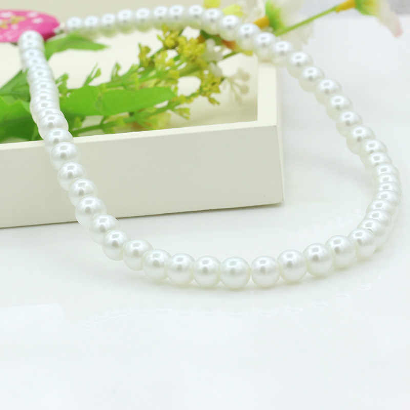 Full Chain String White Simulated Pearl Beads Elegant Strand Necklace for Women