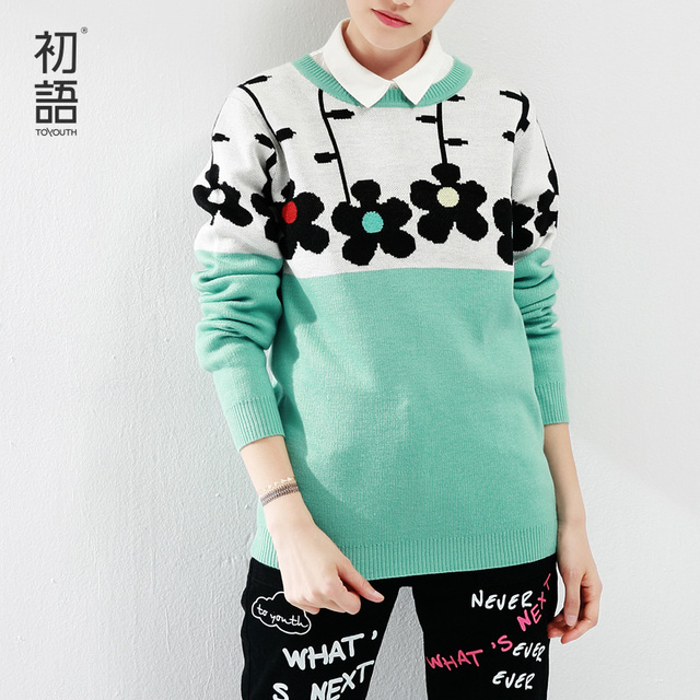 Toyouth Autumn New Arrival Women O-Neck Sweaters Flower Print Color Contrast Pullovers Long Sleeve Ladies Sweaters